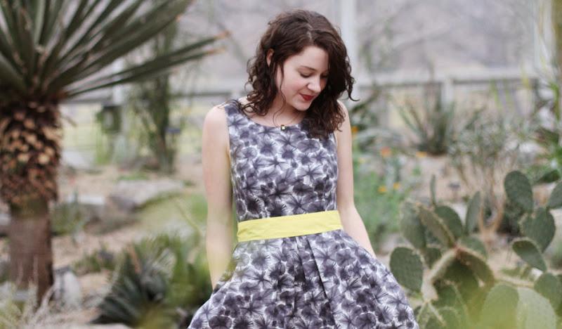 Betabrand's Gray Pleated Dress in the Desert