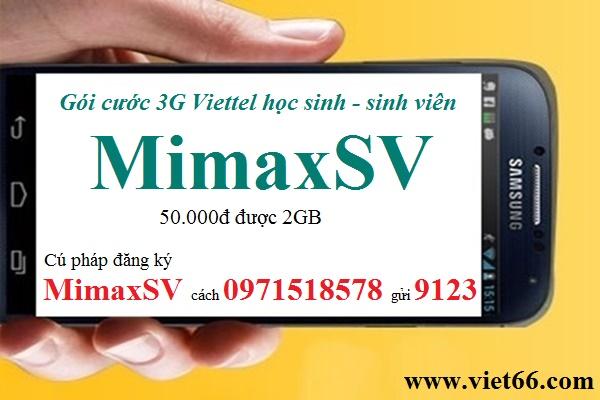 Đăng ký gói 3G Viettel sinh viên MimaxSV: 50.000đ được 2GB