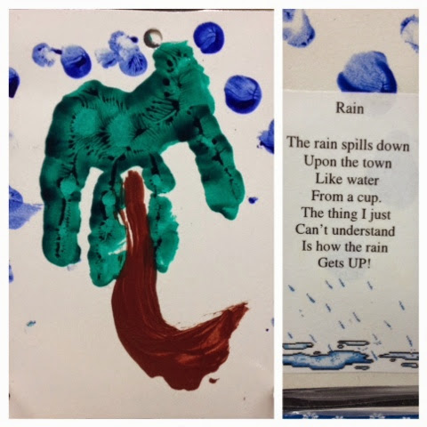 children's umbrella hand print project