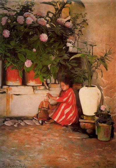 Santiago Rusiñol - Jugando en el patio