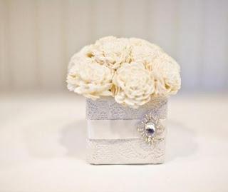 jl designs ivory balsa wood low centerpiece white lace box rhinestone broochjpg