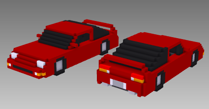 voxel car 1990s Japanese sports car