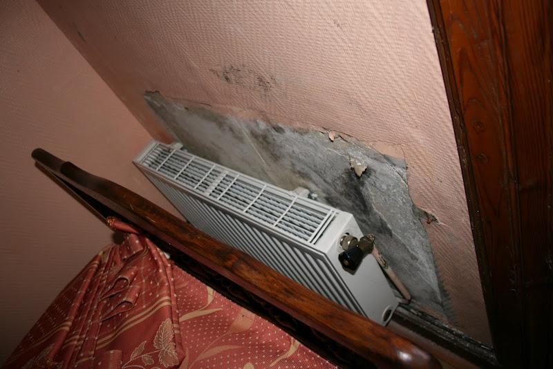 Au Manoir du Grail à Devesset, la moisissure s'est infiltrée sous le papier peint faute de chauffage depuis plusieurs années