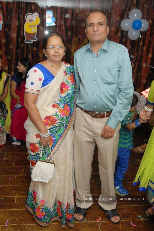 Kumud and Subhash Dongre during Vihaan's first birthday bash at M's Repose, in Nagpur.