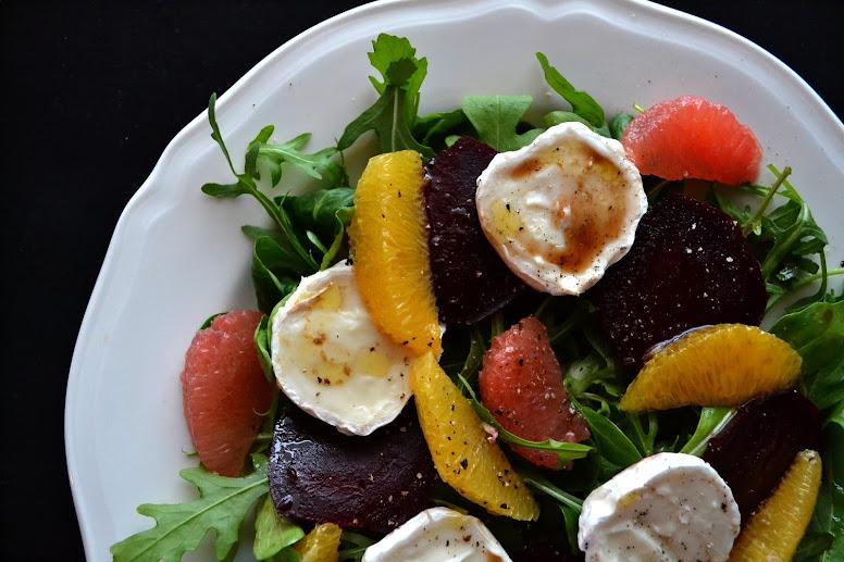 beetroot, orange, goats cheese salad