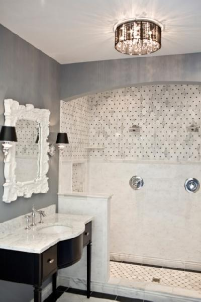 traditional marble bathrooms. Simple Large Subways In White Marble Adorn This Handsome Traditional Bathroom Bathrooms A