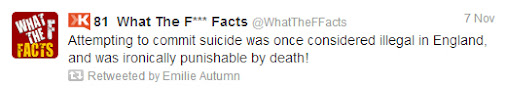 Makes sense.  #suicide #WTF #facts #factoftheday #EmilieAutumn   #Twitter   #humor  #humour #England...