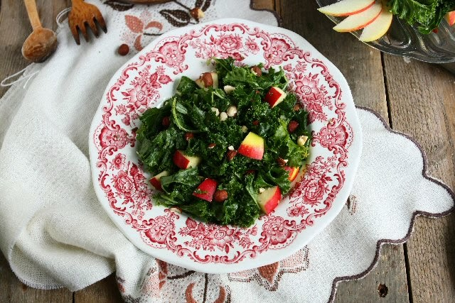 Kale Apple Salad with Tahini Cranberry Dressing