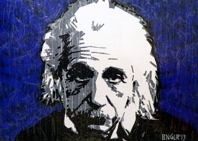 bronya &  sonya benigeler  tape art portrait of  Albert Einstein Альберт Эйнштейн