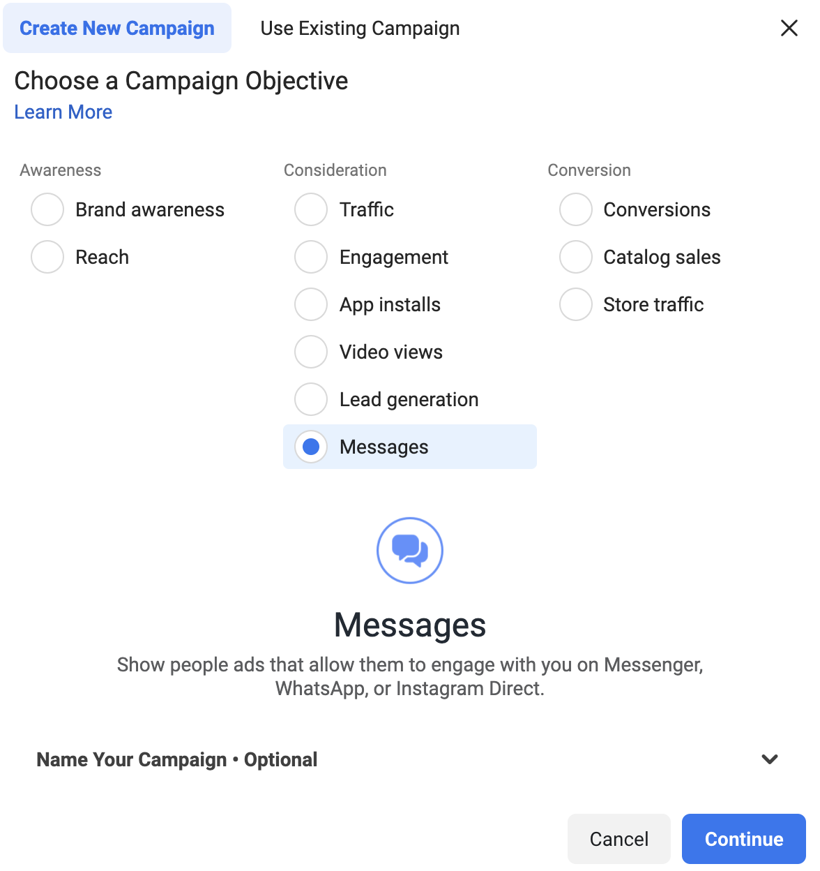 Creating campaign objective for IG ad