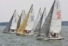 J/80 one-design sailboat- sailing off starting line Houston, TX