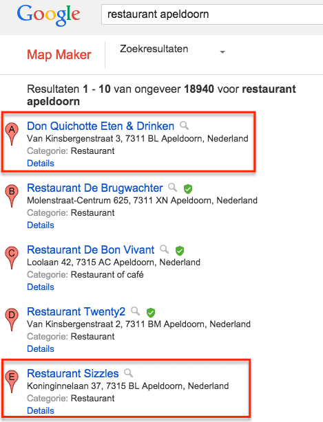 MapMaker vertoont niet-geverifieerde locaties