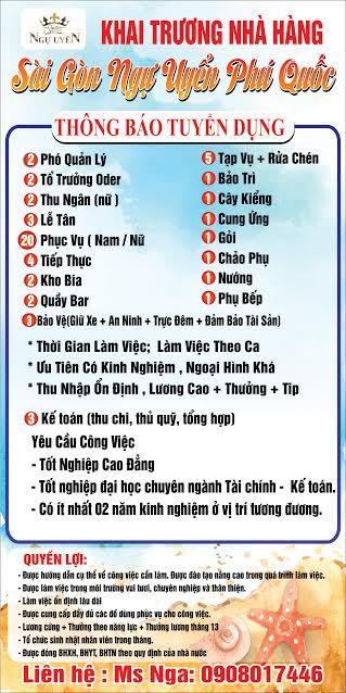 Nhà hàng Sài Gòn Ngự Uyển Phú Quốc tuyển dụng Khai Trương
