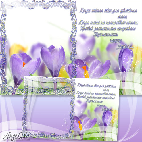 Frame-Card for Photo - Snowdrops-the First Flowers