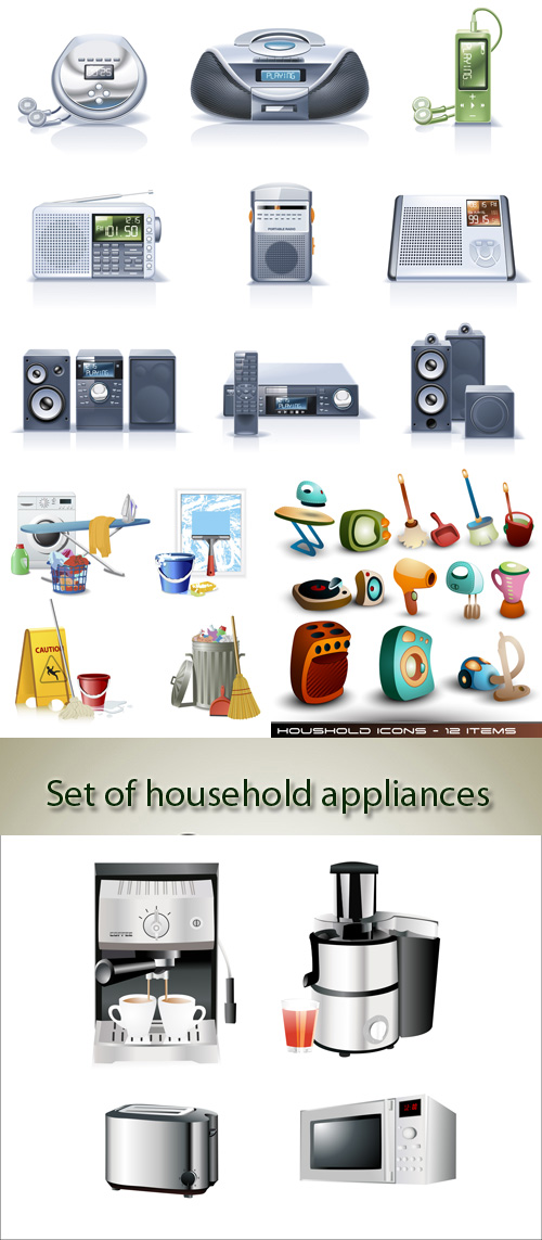 Stock: Set of household appliances