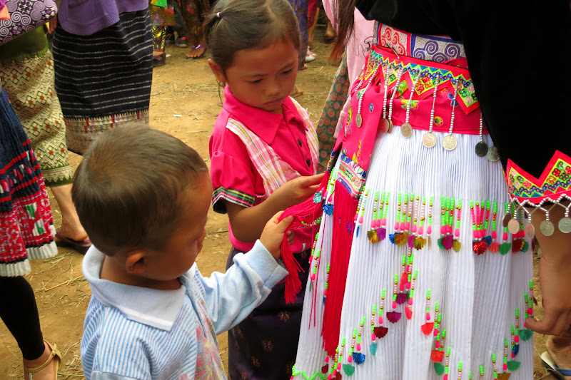 Kids playing with a costume