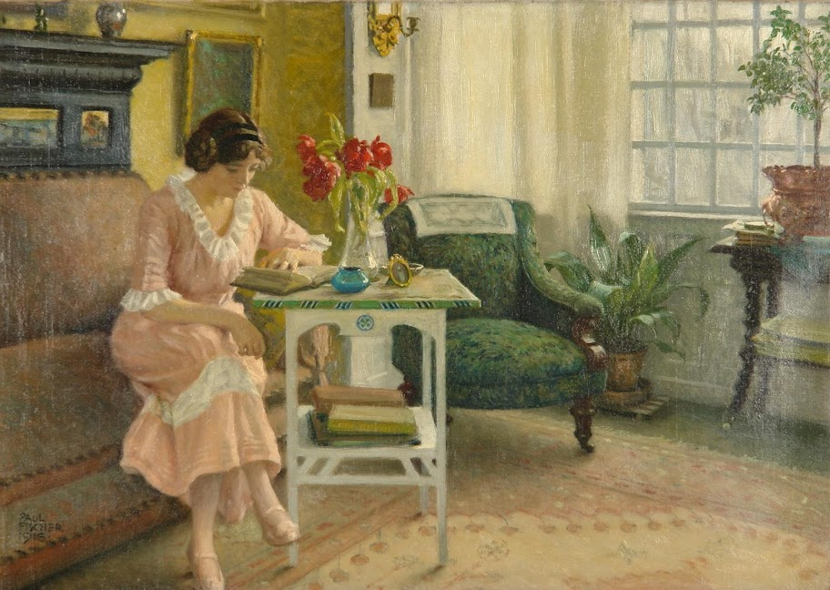 Paul Gustave Fischer - The artist's wife, Musse, reading at home on Sofievej