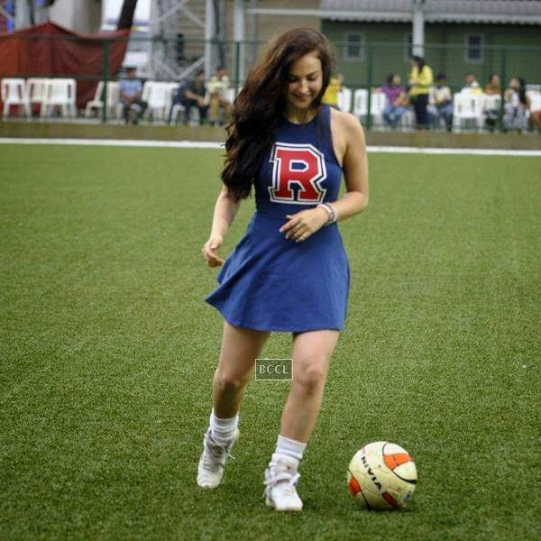 Elli Avram during a charity soccer match organised by Aamir's daughter Ira Khan, at Cooperage ground, on July 20, 2014.(Pic: Viral Bhayani)