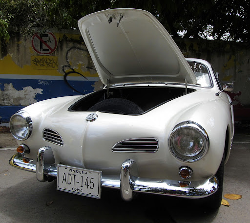 Vintage white karmann ghia in El Hatillo, Caracas