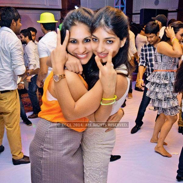 Neha (L) and Poorva at a party, held in Bhopal.