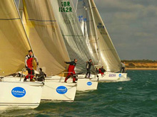 J/109 one-design sailboats- sailing into start at Hamble Winter Series