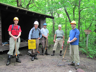 Organizing at Sucker Brook Shelter into two small groups.