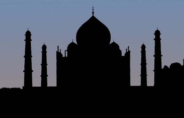 taj mahal silhouette blue background