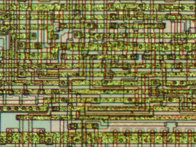 Closeup of the 6502 microprocessor die, showing the overflow circuit.
