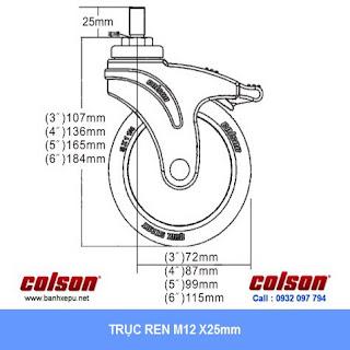 Bảng vẽ kích thước tấm lắp bánh xe cao su có khóa trục ren chịu tải 80kg | STO-4854-448BRK4