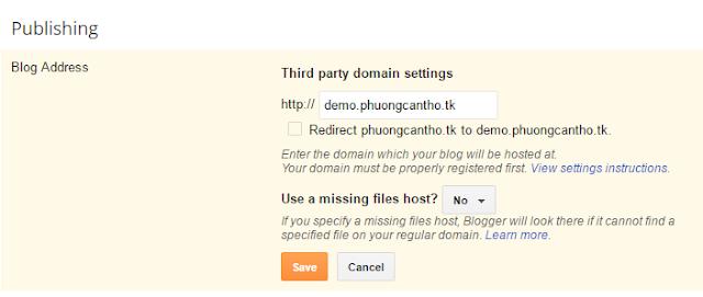 Hướng dẫn tạo tên miền phụ cho Blogspot (Supdomain)