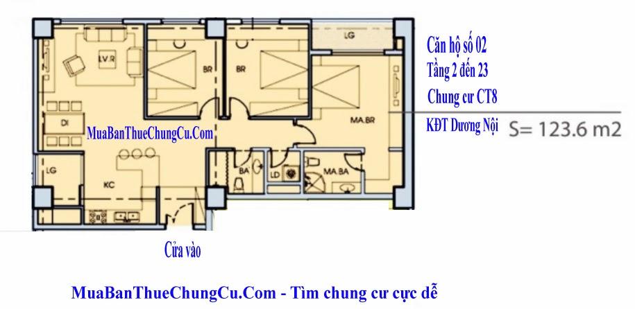 Thiết kế căn hộ số 02 - CT8 chung cư dương nội