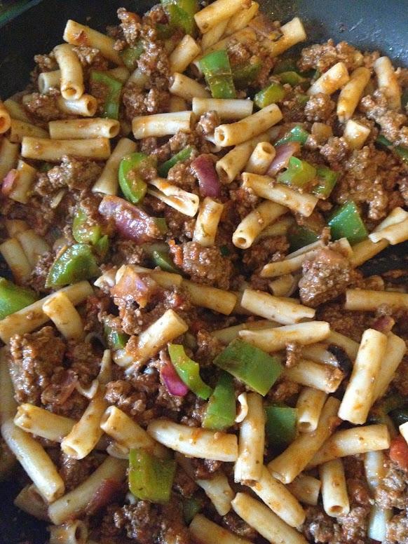 American Chop Suey in pan
