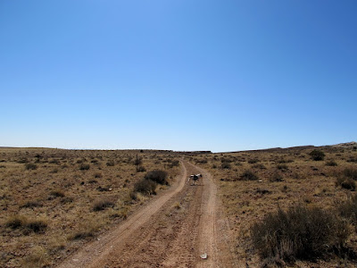 Hiking along a flat stretch of dirt road