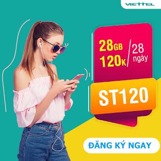 Miễn phí 28 GB Gói ST120 Viettel