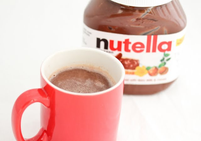 close-up photo of a mug of nutella hot chocolate