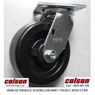 Bánh xe Phenolic chịu nhiệt càng xoay 150mm Colson Mỹ | 4-6109-339