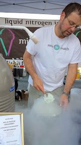 The ice cream show at Mix and Match Creamery as they they were making various combinations of ice cream and toppings with liquid nitrogen at their station, such as mint + Heath bar, vanilla + Butterfinger, and what I tried which was with Cap'n Crunch