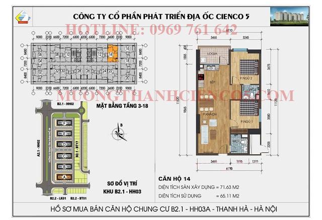 Sơ đồ chi tiết căn hộ chung cư b2.1 HH03A căn 14