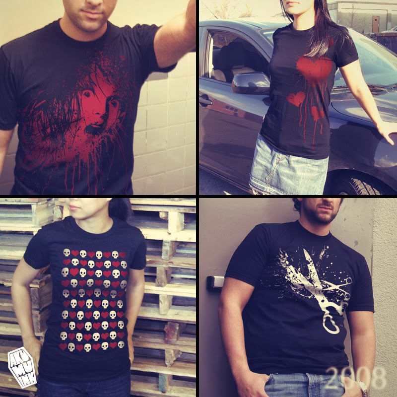 blood shirt, bleeding heart shirt, heart shirt, scissor shirt, japanese clothing brand, montreal clothing brand, montreal emo, japanese goth, montreal goth, california goth