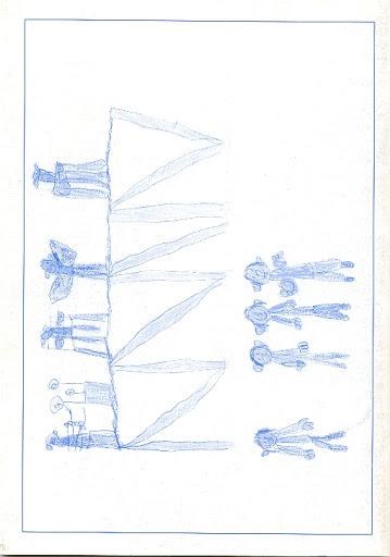 Contraportada Revista Pancrudo nº2 (1998). Dibujo: El Baile, por Érica Eced (5 años)