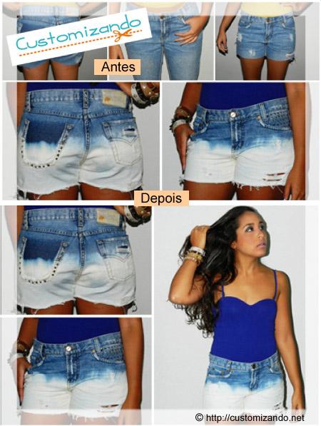 Shorts jeans customizado