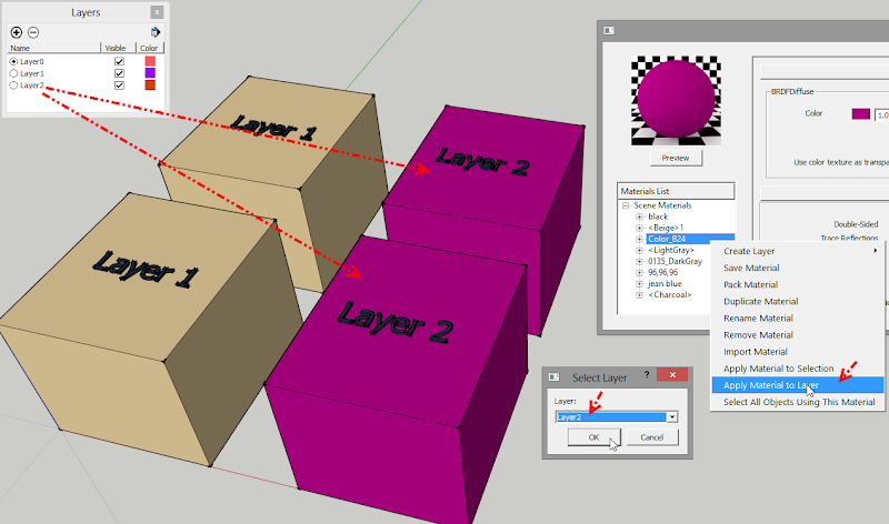 การใช้งานคำสั่ง Apply Material to Selection, Layer และ Select All Objects Using This Material Vrayamt04