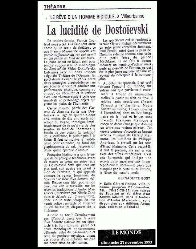 """Article Bernadette Bost - Le Monde sur """"Le Rêve d'un Homme Ridicule"""""""
