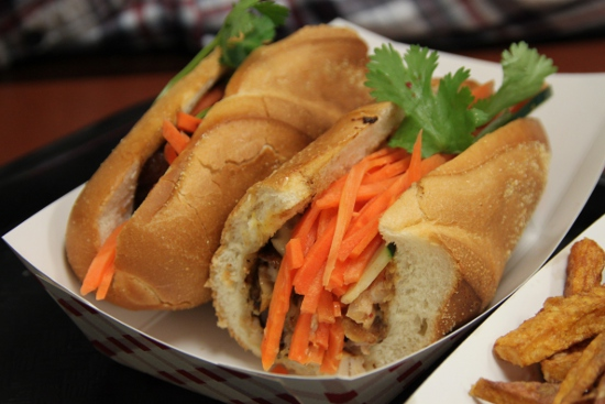 The 5-spice pork belly banh mi.