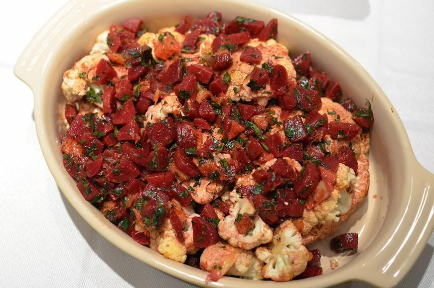 "Spicy Roasted Cauliflower ""Brains"" with Citrusy Beet Salad"