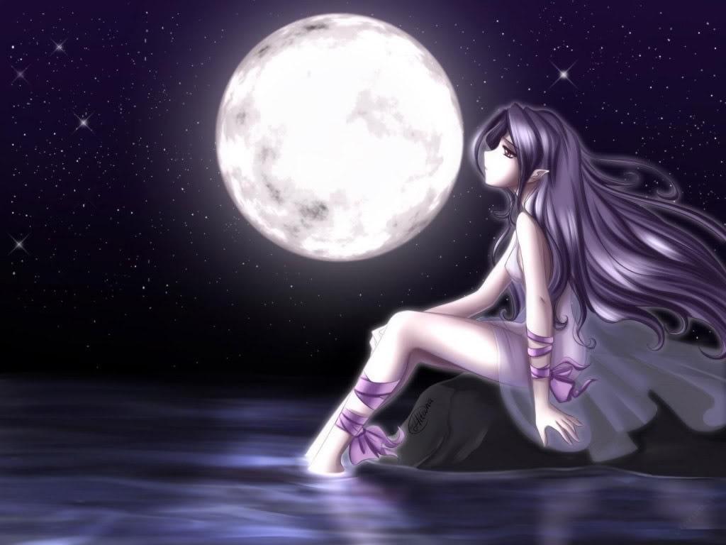 Ảnh cô gái ngắm trăng buồn