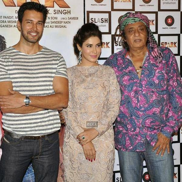 Rajneesh Duggal, Manasha Bahl and Ranjeet pose for the cameras during the trailer launch of Bollywood movie Spark, held at PVR in Mumbai, on July 21, 2014.(Pic: Viral Bhayani)