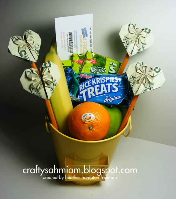 Crafty Sahm I Am Origami Heart Folded Money Gift Basket