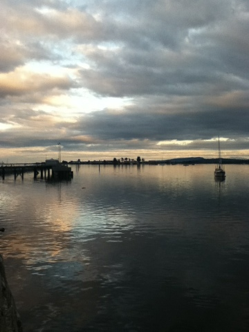 Sunset over water in Comox