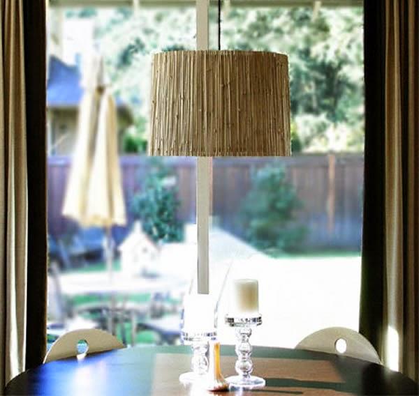 Luminária de bambu finalizada